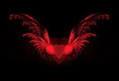 Coeur avec des ailes de fractale Images stock