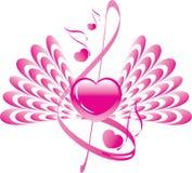 Coeur avec des ailes et note avec le clef triple Images libres de droits
