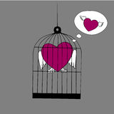 Coeur avec des ailes se reposant dans la cage et pensant à la liberté illustration stock