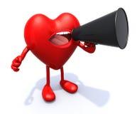 Coeur avec des bras, jambes, bouche qui crient dans le porte-voix Photographie stock libre de droits