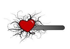 Coeur avec des centrales autour. Vecteur Images libres de droits