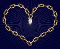 Coeur avec des chaînes Photographie stock