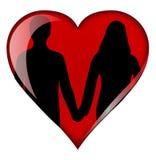 Coeur avec des couples illustration stock