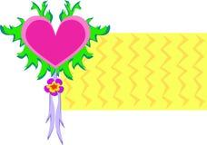 Coeur avec des feuilles et rubans avec le fond Image libre de droits