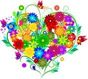 Coeur avec des fleurs Photos stock