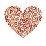 Coeur avec des fleurs d'isolement sur le fond blanc Image libre de droits