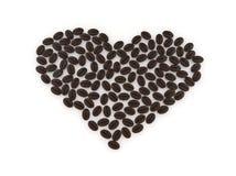 Coeur avec des grains de café Images libres de droits