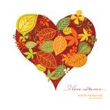 Coeur avec des lames d'automne Image stock