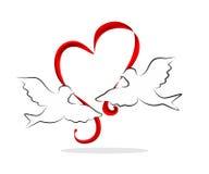 Coeur avec des oiseaux Images stock