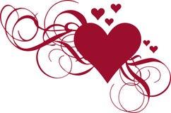 Coeur avec des ornements Photos stock