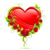 Coeur avec des roses Photographie stock