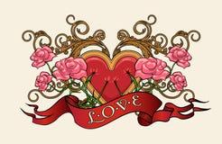 Coeur avec des roses Photo libre de droits