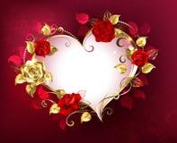 Coeur avec des roses illustration stock