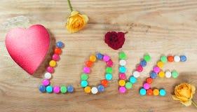 Coeur avec des sucreries Photographie stock libre de droits