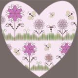 Coeur avec flowers&butterfly Image stock