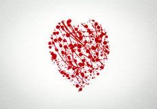 Coeur avec l'éclaboussure de l'aquarelle rouge Photo stock