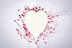 Coeur avec l'éclaboussure de l'aquarelle rouge Photos libres de droits