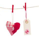 Coeur avec l'étiquette pour le jour de valentines Photos stock