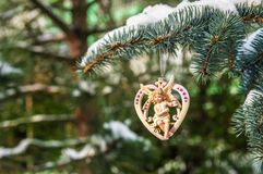 Coeur avec l'ange, décoration de Noël Photo stock