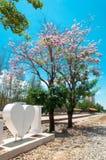 Coeur avec l'arbre de fleur photo stock