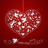 Coeur avec l'ensemble de graphismes Photographie stock