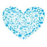 Coeur avec l'espèce marine Image stock