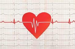 Coeur avec l'essai d'électrocardiogramme à l'arrière-plan, Image stock