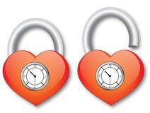 Coeur avec l'horloge Image stock