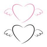 Coeur avec l'icône d'ailes illustration libre de droits