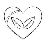 coeur avec l'icône d'usine de feuilles illustration libre de droits