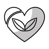 coeur avec l'icône d'usine de feuilles illustration de vecteur