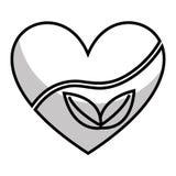 coeur avec l'icône d'usine de feuilles illustration stock