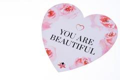 Coeur avec l'inscription - vous êtes beau - d'isolement Image libre de droits