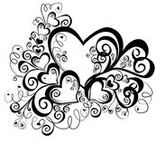 Coeur avec l'ornement floral, illustration de vecteur   Photo stock