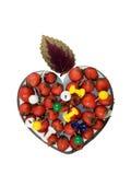 Coeur avec la baie de sureau, les broches de retrait et la lame, isolant Images stock