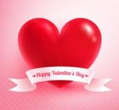 Coeur avec la bannière de papier Photo libre de droits