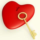 Coeur avec la clé montrant l'amour Romance et les valentines Photographie stock libre de droits