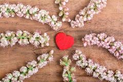 Coeur avec la fleur sur le bois photographie stock libre de droits