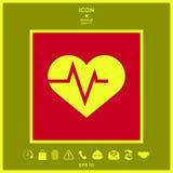 Coeur avec la vague d'ECG - symbole de cardiogramme de modification de foie noir de graphisme de protection blanc médical simplem Photo libre de droits