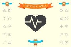 Coeur avec la vague d'ECG - symbole de cardiogramme de modification de foie noir de graphisme de protection blanc médical simplem Images libres de droits