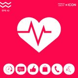 Coeur avec la vague d'ECG - symbole de cardiogramme de modification de foie noir de graphisme de protection blanc médical simplem Photo stock