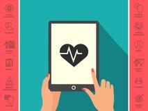 Coeur avec la vague d'ECG - symbole de cardiogramme de modification de foie noir de graphisme de protection blanc médical simplem Image libre de droits