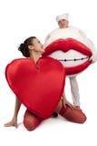 Coeur avec le baiser Image libre de droits