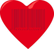 Coeur avec le code barres Photo stock
