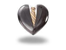 Coeur avec le costume et le lien noirs Images stock
