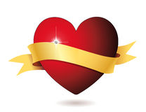 Coeur avec le diamant et la bannière Photo stock