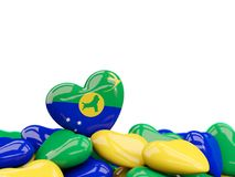 Coeur avec le drapeau de l'Île Christmas Image stock