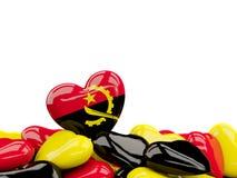 Coeur avec le drapeau de l'Angola Photos libres de droits