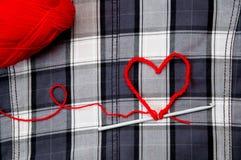 Coeur avec le fil Images libres de droits