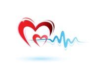 Coeur avec le graphisme d'ecg illustration stock